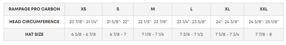 Fox head Rampage Helmet Size Chart
